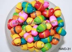 Oval  Shape Colourful Wooden Beads