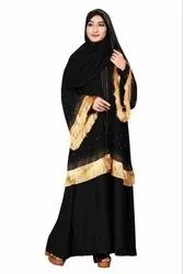 Black Color Plain Nida Abaya Burkha With Chiffon Jacket and Dupatta for Women