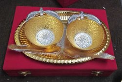 Gold Plated Designer Bowl Set For Marriage Gifts