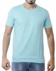 Mens Sea Blue Causal Cotton Round Neck T-Shirt