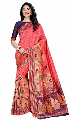 Multicolor Zardozi Work Kanchipuram Pure Silk Sarees, Length: 6.3 m (With Blouse Piece)
