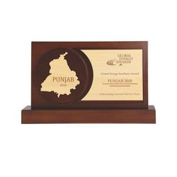 Brown Rectangular 7.5 Inch Punjab Global Wooden Trophy