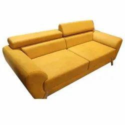 Plain Yellow Two Seater Leather Sofa
