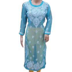 Casual Wear Blue Ladies Full Sleeves Cotton Chikan Kurti, Size: S-XXL, Machine and Hand Wash