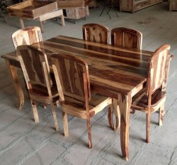 Natural Colour SHEESHAM SIX SEATER DINING SET, for Hotel, Size: W180*d90*h76cm
