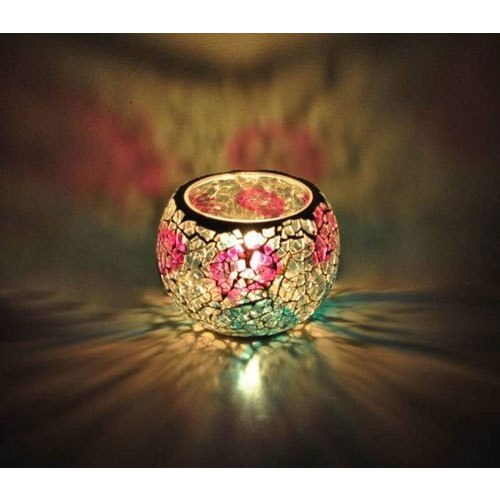 Decorative Glass Candle Holders.Colored Crush Glass Candle Holder