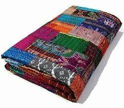 Silk Pach Kantha Bedcover