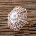 黄铜Moti Cz经典戒指与玫瑰金电镀406151