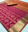 Printed Banaras Saree, Without Blouse Piece