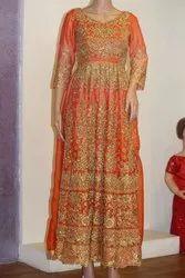 Orange Long Sleeve With Full Dress