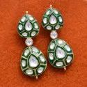 Green Meena Fine Earring Crafted in Sterling Silver With Polki