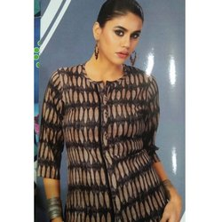 3/4th Sleeve Casual Printed Cotton Short Kurti, Size: S-XXL