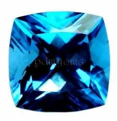 Swiss Blue Topaz Faceted Antique Cushion Gemstone
