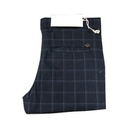 Cotton Formal Wear Mens Fancy Check Trousers
