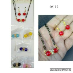 Round Party Wear Ladies Fancy Beads Mangalsutra And Earring Set