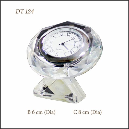 Analog White Crystal Clock Table Top DT 124 for Promotional Gifts