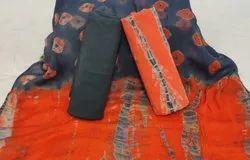 Bagru Shibori Print Cotton Suit with Shiffon Dupatta