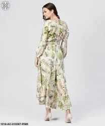 Ethnic Wear Baby Pink Rayon Printed V-Neck Asyemmetric Maxi Dress With 3/4 Sleeves, Size: S-XXL