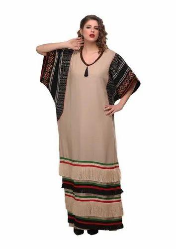 870371978be8 Embroidered Georgette Beige Black Kaftan Maxi Dress Abaya, Rs 1500 ...