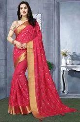 Magenta Heavy Resham Embroidered Saree
