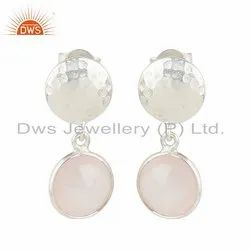 Rose Quartz Gemstone New 925 Sterling Fine Silver Earrings