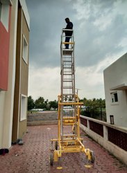 Aluminium Tillable Telescopic Tower Ladder With Big Wheels