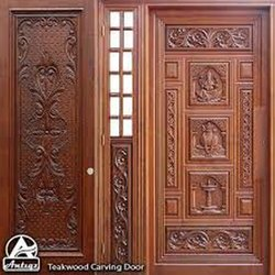 Brown Polished Carving Wooden Door