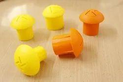 Yellow, Orange Ldpe TMT Rebar Cap (Safety Mushroom Plastic Caps), Round Shape, Box