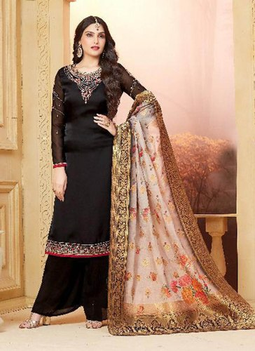 23da291650 Peach Banarasi Silk Party Wear Palazzo Salwar Suits, Rs 2050 /piece ...