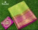 Zari Party Wear Poonam Saree, Length: 6 M (with Blouse Piece)