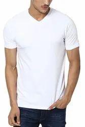 Cotton Plain Mens V Neck T Shirt, Size: S to 2XL
