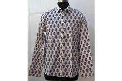 Bettie Block Print Mens Floral Printed Shirt Print
