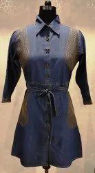 Dark Blue Women''s Denim Long Dress