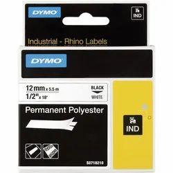 DYMO S0718210 Rhino Polyester Tape 12mm x 5.5m Black on White
