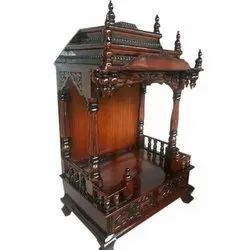 Brown Handcrafted Wooden Temple for Home, Office, Weight: Upto 10 Kg