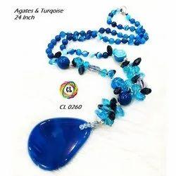 Cl Jewellery Blue Gemstone Beads Semiprecious Fashion Jewellery Necklace Set