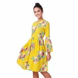Yellow Floral Midi Dress