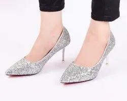 Partywear Glamour Silver High Heels Ladies Bellies