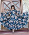 Designer Deep Neck Floral Full Flare Kurti For Girls