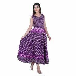 Midi Multicolor Cotton Jaipuri Frock, Size: FREE SIZE