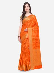 Orange Art Silk Woven Design Patola Saree
