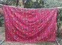Vintage Queen Size Kantha Cotton Quilt Reversible Throw Kantha Blanket