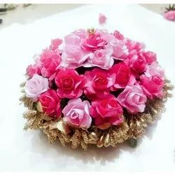 Artificial Pink Flower Hair Bun
