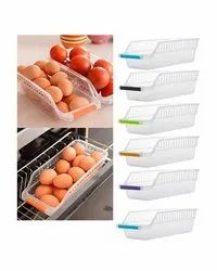 Plastic Fridge Storage Organiser Space Saver Food Long Rack Tray Box With Handle (Assorted Colors)
