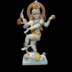 Colored Marble Dancing Shiv Statue