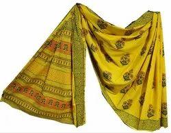 Floral Print Cotton Mulmul Saree