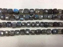 Labradorite Faceted 3D Cube Beads Cut Box Shape Briolette Beads Strands