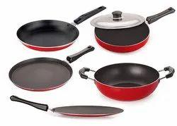 Nirlon Non-Stick Aluminum Cookware Set, 5-Pieces, Black