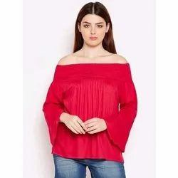 Cotton Full Sleeve Ladies Party Wear Plain Top, Size: S-XL