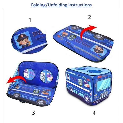 Non Woven Kids Blue Pop-Up Police Car Play Tent House